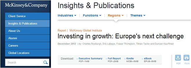 McKinsey & Company Insights and Publications-Investing in Growth, Europe's Next Challenge