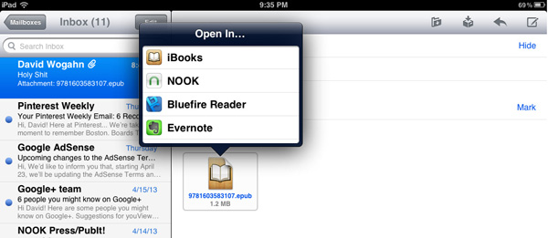 Save your eBook on your iPad and open it with your choice of software