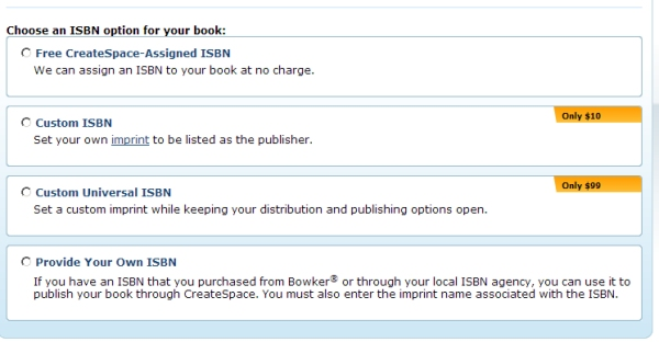 CreateSpace-Choose an ISBN