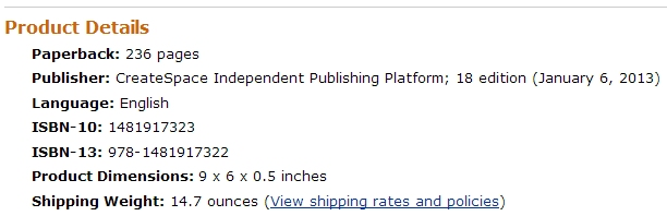 This is what the publisher name looks like when you select the free CreateSpace ISBN