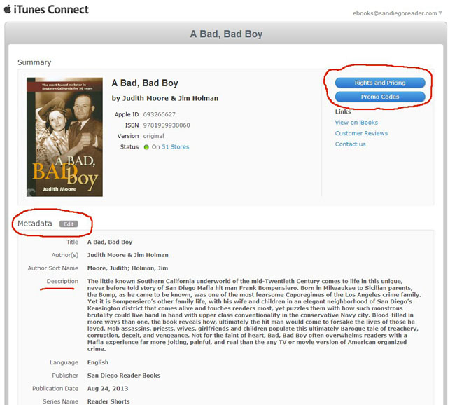 iTunes Connect Manage Your Book-Metadata Pricing Promo Codes