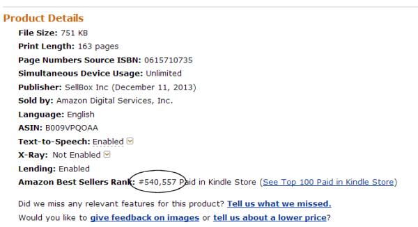 Successful eBook Publishing Rank December 12 2013