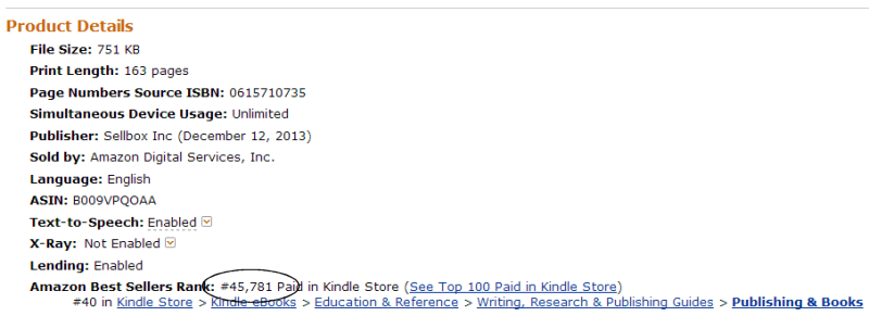 Successful eBook Publishing Rank December 20 2013