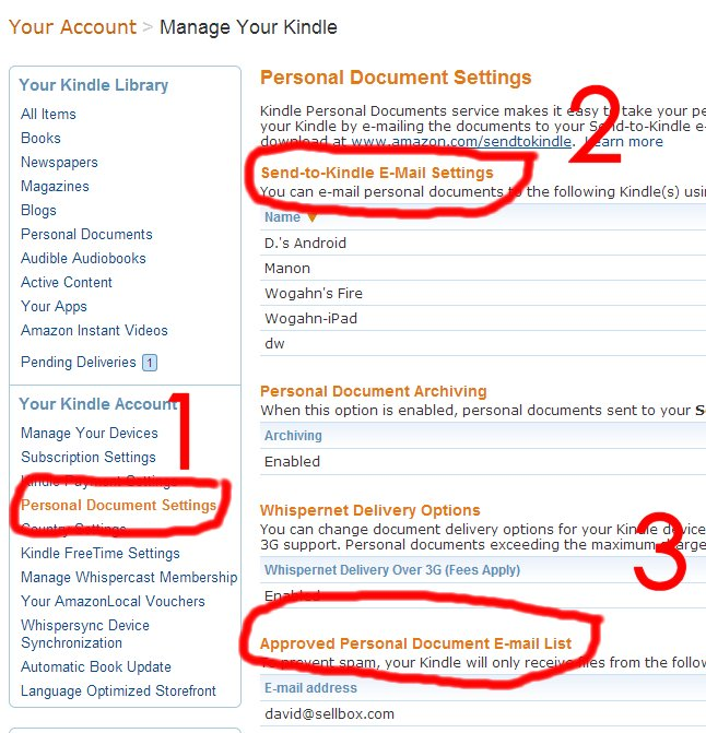 Send to Kindle Email Settings Approved Personal Documents