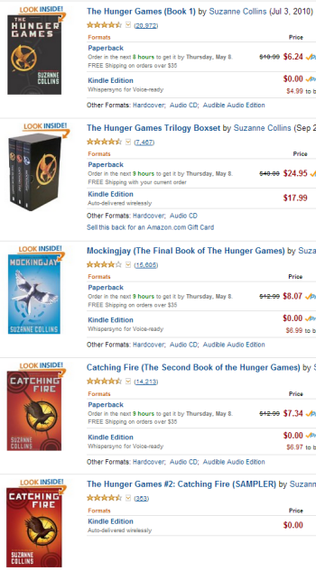 The Hunger Games Book Series Listings on Amazon
