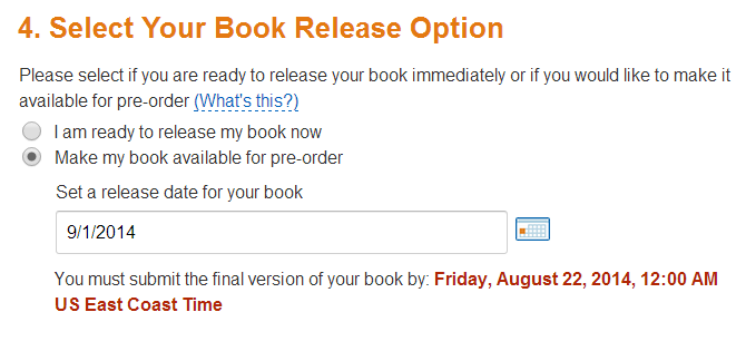 Kindle Pre-Order-Select Your Book Release Option