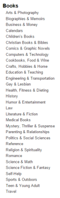 Amazon Book Categories-Top Level