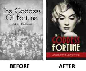 The Goddess of Fortune-before and after using 99designs for a new cover