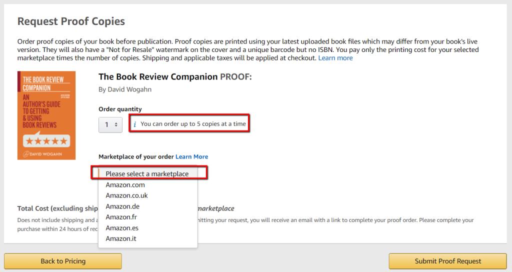 Amazon KDP Print author copy proof order