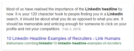 LinkedIn headline advice from LinkHumans.com