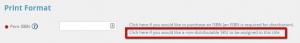 Select IngramSpark assigned non distributable SKU not ISBN