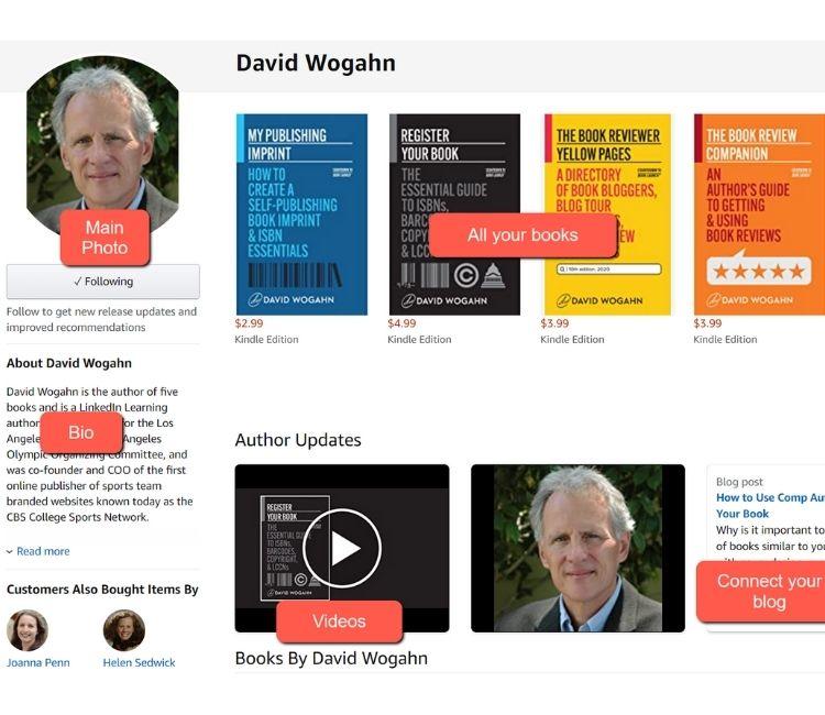 David Wogahn-Amazon Author Central options and profile examples