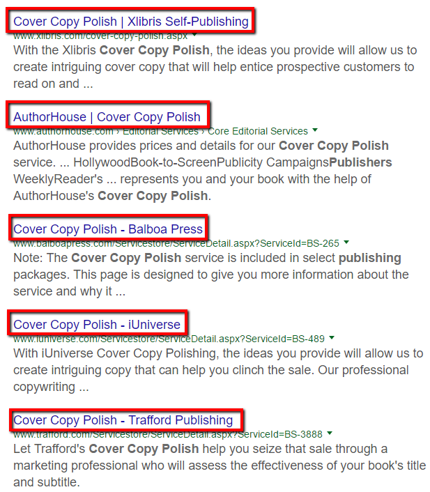 Self-Publishing packages