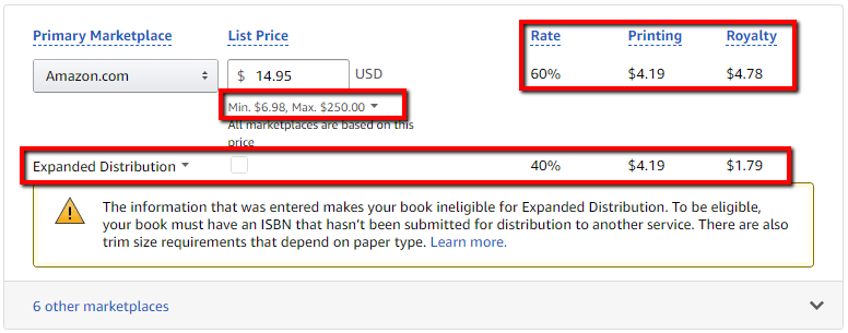 How to calculate Amazon KDP Print printing and royalties-AuthorImprints