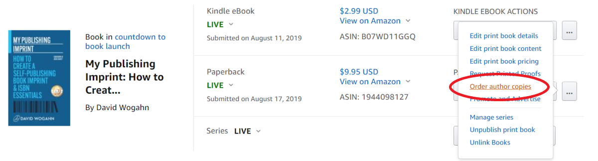 How to order discounted author copies from Amazon KDP Print